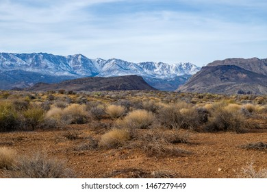 Desert landscape with Snowy Mountains on the background