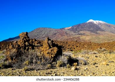 Desert Landscape in Volcan Teide National Park, Tenerife, Canary Island, Spain