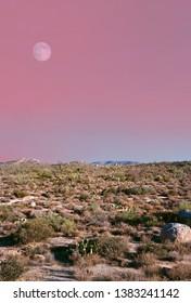 Desert moon over the southwestern USA Sonora desert and mountains