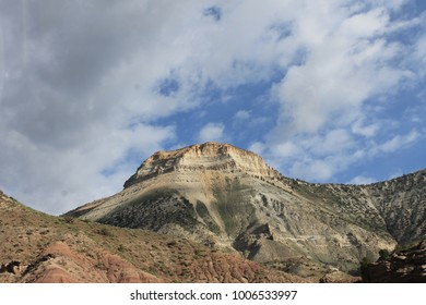 Desert mountain against blue sky