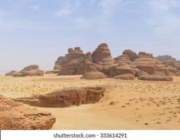 desert mountain landscape, yellow sand dunes, red rocks,