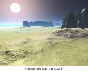 Desert with mountains on the shore near to water. 3D Illustration, 3D rendering