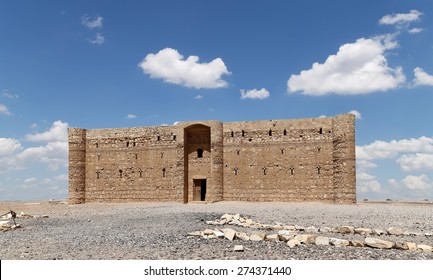 DESERT NEAR AMMAN, JORDAN- APRIL 06, 2014: Quseir (Qasr) Amra desert castle near Amman, Jordan. World heritage with famous fresco's. Built in 8th century by the Umayyad caliph Walid II