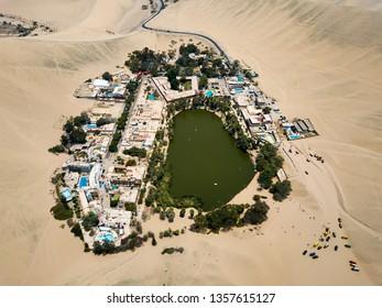Desert oasis of Huacachina in Peru aerial landscape