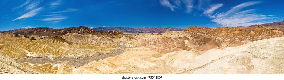 Desert Panorama - Dynamic rock formations at Zabriskie Point in Death Valley