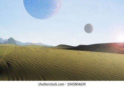 desert planet with two moons