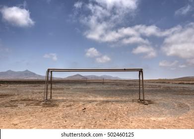 Desert prospects in a soccer field.