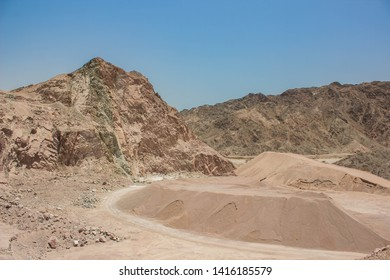desert quarry place in dry rocky scenery landscape environment in Middle East