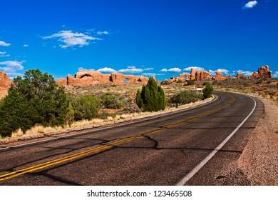 Desert Road in Arches National Park, Utah