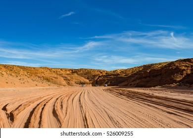 Desert Road and blue sky, Antelope Canyon, Antelope Canyon, Arizona, USA
