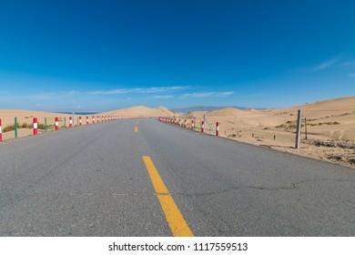 Desert road in China