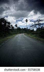 desert road during a rainstorm in zanzibar