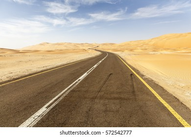 Desert road to the Moreeb Dune in Liwa Oasis area. Emirate of Abu Dhabi, United Arab Emirates