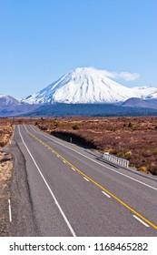 The Desert Road and Mount Ngauruhoe in New Zealand's North Island.