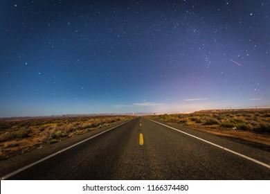 Desert road under the stars in Arizona