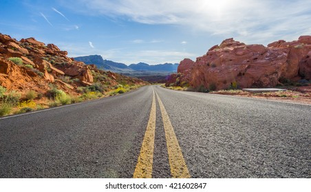 Desert road in valley of fire state park, Nevada