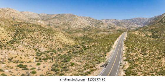 Desert Road winds through the heart of the Mojave desert wilderness.