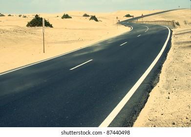 Desert Road.Fuerteventura.canary islands