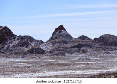 Desert rock formations. Mountains of the Cordillera del Sal in the Valley of the Moon (Valle de la Luna), Atacama Desert, Chile
