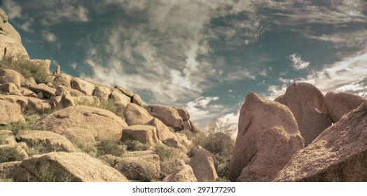 Desert rock formations near Scottsdale, Arizona,  The Boulders...
