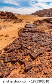 Desert rocks seen at guided tour with local bedouin, Wadi Rum desert, Jordan, MIddle East
