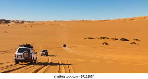 Desert Safari - Off-road vehicles driving in the Sahara Desert, Libya