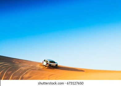 Desert safari on beautiful sand dune.