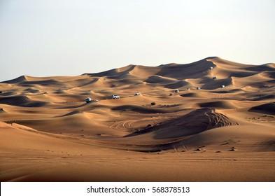 Desert safari on sand dunes on the off-road cars, Dubai,United Arab Emirates
