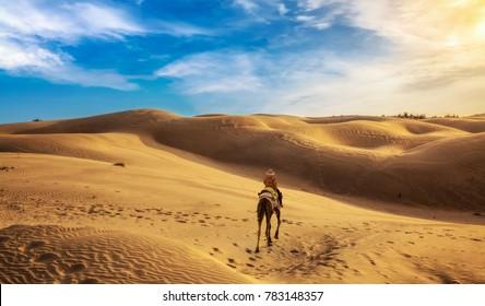 Desert safari at the Thar desert Jaisalmer, Rajasthan, India.