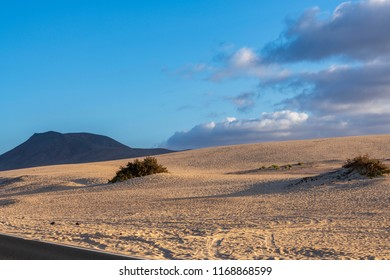 Desert Sand Dunes with a view to the Mountains in Fuerteventura, Canary Islands, Spain