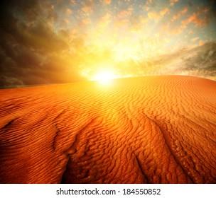 Desert. Sand Landscape with Sun