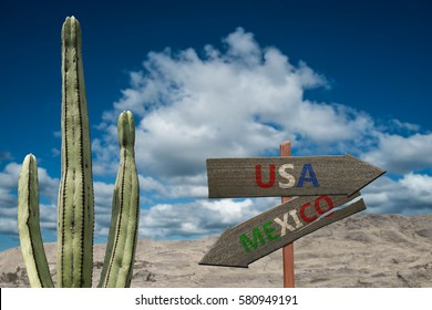 Desert sign for Mexico and the United States of America border crossing