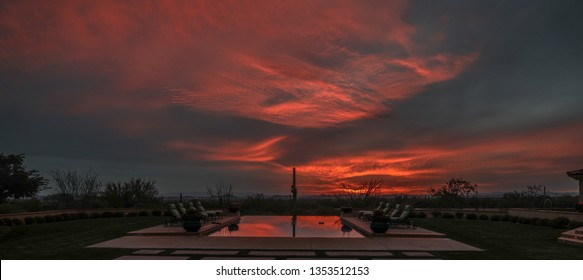 Desert sunset arizona infinity pool
