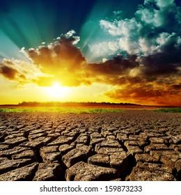 desert and sunset over it