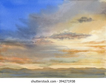 Desert Sunset, watercolor painting of a sunset with colors of blue, orange, tan, gray and brown over a desert with mountains in the background