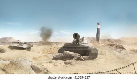 Desert tanks battlefield background. Desert war tanks battle scene with explosions, barbed wire & ruins background.