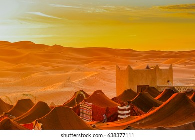 desert tent of Tuareg family in the middle of the sand dunes
