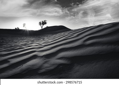 Desert of United Arab Emirates in a dramatic scene in black and white