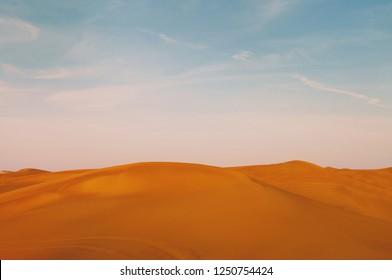 Desert view and blue sky in Dubai