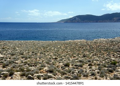 The desert view of the cape Punta del Gost.Ibiza.Spain.