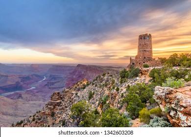 Desert View Watchtower at the Grand Canyon, Arizona, USA.