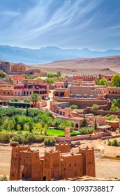 Desert village with Kasbah Ait Ben Haddou near Atlas Mountains, Morocco, Africa
