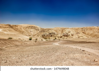 desert wasteland wilderness environment with ground curved lonely trail and dry sand rock mountain background