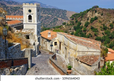 Deserted alley in old Savoca village on Sicily island. This village is known from the plan for the scenes in Corleone of Francis Ford Coppola's The Godfather. Italy