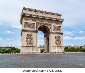 Deserted Arc de Triomphe during Coronavirus Lockdown in Paris.