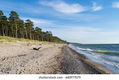 Deserted beach by the Baltic Sea in Karosta, near Liepaja, Latvia