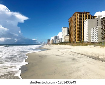 A deserted beach in Myrtle Beach South Carolina.