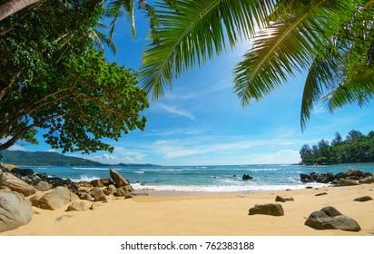 Deserted cozy small tropical beach. Thailand, Phuket