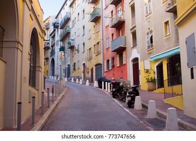 A deserted European street in Nice, France
