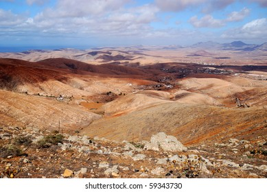 Deserted Fuerteventura landscapes. Second largest Canary island.